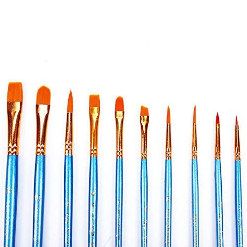 Onior ペイントブラシセットプラスチックナイロンヘアブラシ手作りアクリルオイル水彩画アーティストのためのブラシアダルト子供10個(青)の商品画像