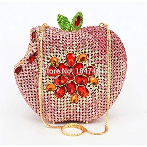 Crystal Fruit Luxury Apple clutch Party Clutch Wedding Shape Purse Women Purse Ladies ULKpiaoliang Handbag bag Diamond Evening Pink Bag Pink nYxPOqPpwF