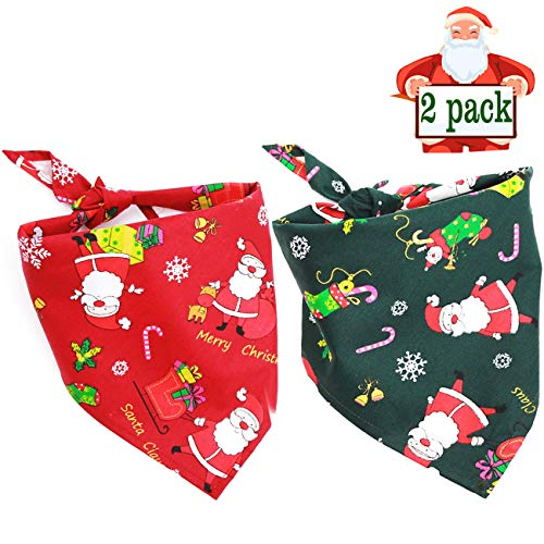 Malier 2 Pack Dog Bandana Christmas Pet Costume Stylish Christmas Santa Scarf Triangle Bibs Kerchief Set Accessories Decoration for Small Medium Large Dogs Cats Pets -