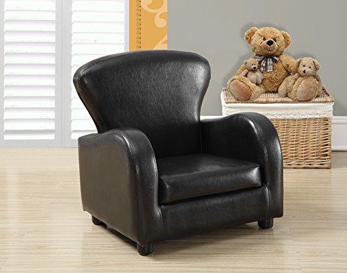 Monarch Specialties Dark Brown Leather-Look Juvenile Club Chair, 20-Inch