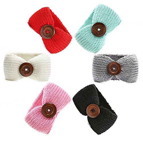 Infant Crochet Headbands (6 Pack of Baby Girl Headbands Knit Crochet Turban Warm Elastic Bow Headwrap Cute Bowknot Band (6 pcs set))