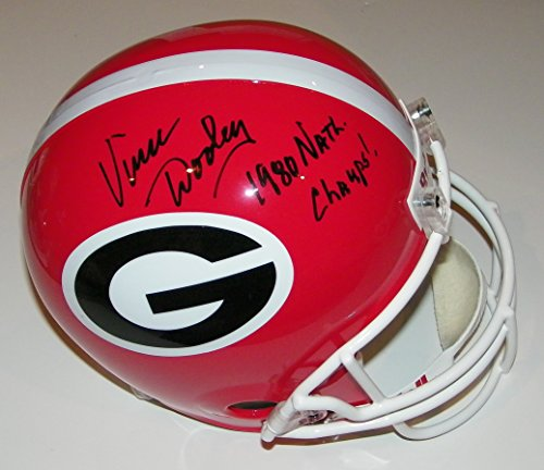 - Vince Dooley Signed Autographed Auto UGA Georgia Bulldogs Full Size Helmet w/1980 Natl Champs - Proof