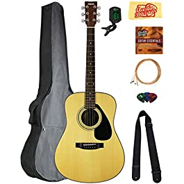 Yamaha F325D Dreadnought Acoustic Guitar – Natural Bundle with Gig Bag, Tuner, Strings, Strap, Picks, Austin Bazaar…