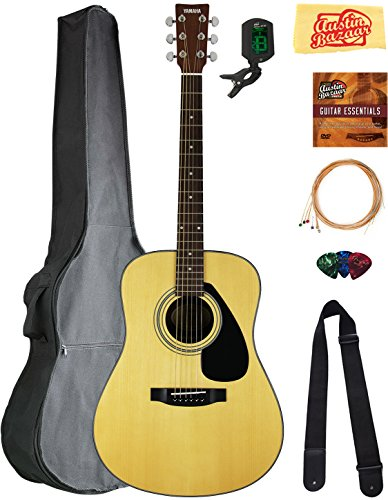 Yamaha F325D Dreadnought Acoustic Guitar Bundle with Gig Bag, Tuner, Strings, Strap, Picks, Austin Bazaar Instructional DVD, and Polishing Cloth ()