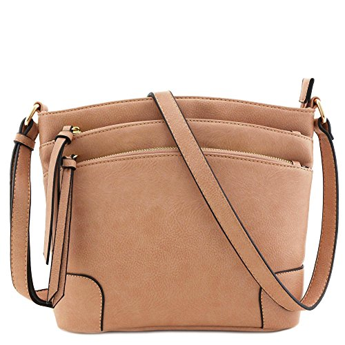 - Triple Zipper Pocket Medium Crossbody Bag Rose Pink