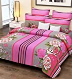 Home Candy 144 TC 100% Cotton Pink Stripes and Flowers Double Bed Sheet with 2 Pillow Covers