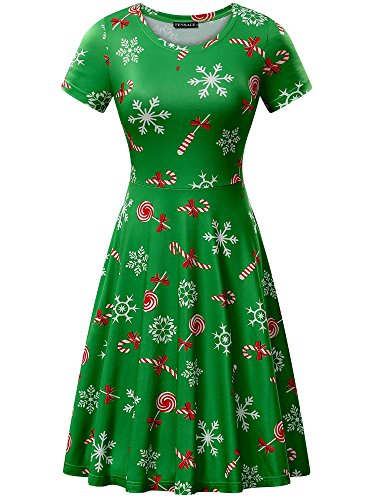 FENSACE Christmas Dress Womens Snowflake Candy Cane Dress for $<!--$18.88-->