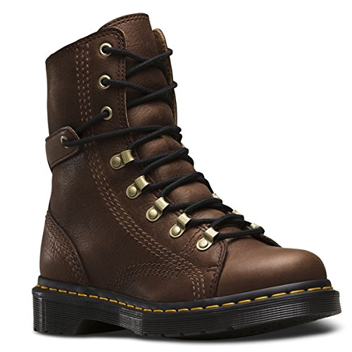 Brown Tumbled Leather Air (Dr. Martens Women's Coraline In Dark Brown Gizzly Leather Combat Boot, Dark Brown Grizzly, 6 Medium UK (8 US))