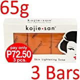 Kojie San Skin Lightening Kojic Acid Soap 3 Bars - 65g with nourishing coconut oil and fresh orange fragrance Fades age spots, freckles, and other signs of sun damage.
