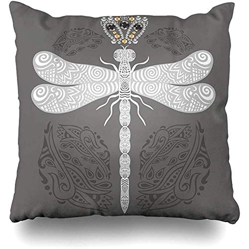 (Throw Pillow Cover Applique Silver Beading Handdrawn Lacy Dragonfly Paisley Ornate Doodle Abstract Bee Medal Cushion Case Home Decor Square Size 18 x 18 Inches Pillowcase)