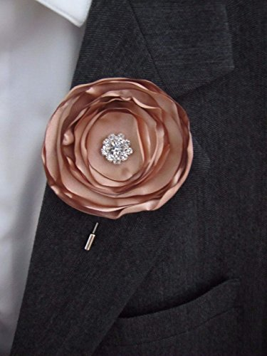 Rose Gold Boutonniere, Copper Fabric Flower Wedding Prom Shabby Chic Buttonhole, Groom Groomsman Vintage-Style Keepsake Lapel Pin Buttonhole Fabric