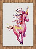 Fantasy Area Rug by Lunarable, Unicorn Legendary Dream Creature in Watercolor Art Girls Kids Baby Design, Flat Woven Accent Rug for Living Room Bedroom Dining Room, 5.2 x 7.5 FT, Pink Yellow Red