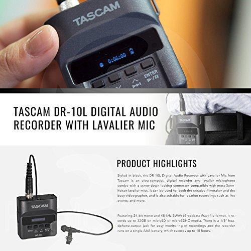 Tascam DR-10L Portable Digital Studio Recorder W/Lavalier Microphone, 32GB Card Headphones 2-Pack Deluxe Bundle by Tascam (Image #1)