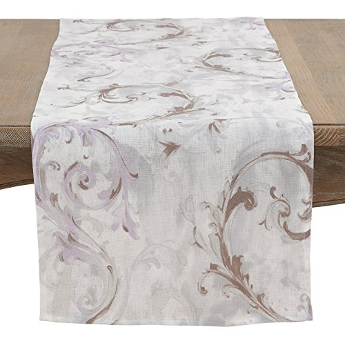 SARO LIFESTYLE Fleur Douce Collection Go for Baroque Linen Runner/1322.LV1672B, 16'' x 72'', Lavender by SARO LIFESTYLE