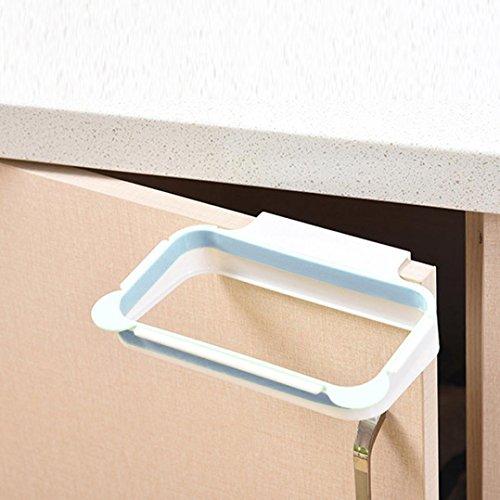 Usstore 1Pcs Waste Bag Holder Plastic Bracket Stand Rack Kitchen Trash Storage Hanger (Blue)