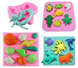 Marine Animal Cake Fondant Mold,Mermaid Cake Decorating Mold,Cupcake Topper Decorating, Candy Mold,Chocolate Mold,Polymer Clay Crafting Projects