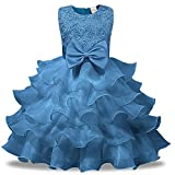 Kids Tales Girl Dress Kids Ruffles Lace Party Wedding Dresses, Light Blue, 120(4-5T)