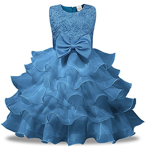Girls Ruffle Dress Blue (Kids Tales Girl Dress Kids Ruffles Lace Party Wedding Dresses, Light Blue, 150(9-10T))