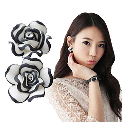 Usstore 1Pair Women's Cute Black White Rose Flower Plastic Ear Stud Earrings Jewelry Gift (20ct Princess Cut Diamond)