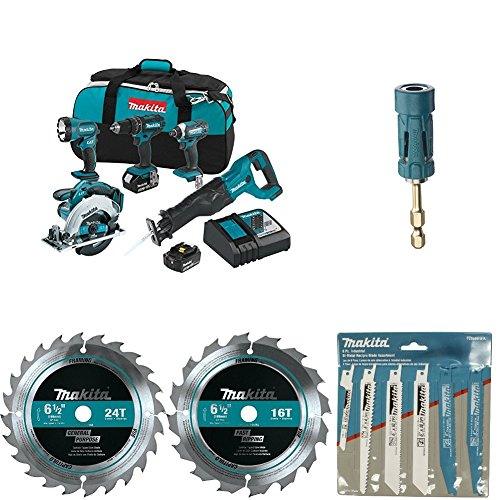 Makita XT505 18V LXT Lithium-Ion Cordless 5-Pc. Combo Kit with with B-35097 Impact GOLD Ultra-Magnetic Torsion Insert Bit Holder with 723086-A-A 6 Pc. Recipro Saw Blade Assortment Pack with T-01395 6-1/2