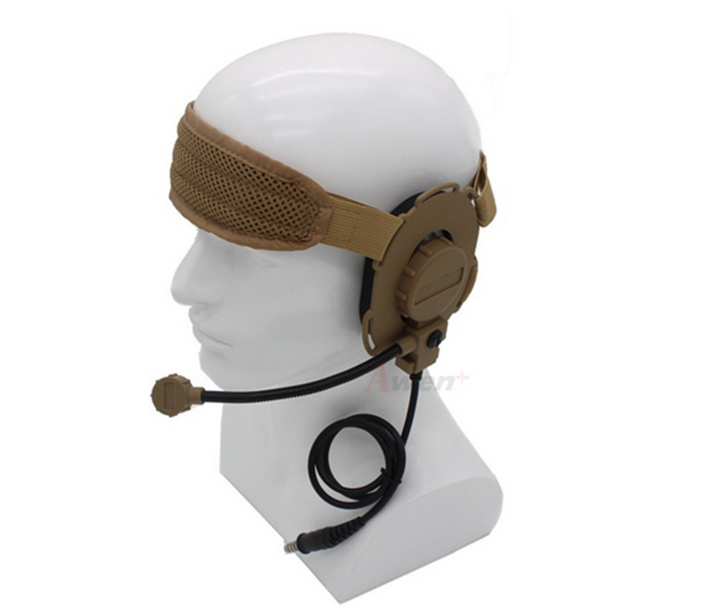 Bowman Evo III military headset With TCI Tactical PTT Z029,Tactical headphones,Anti noise headphones,Outdoor headphones,walkie talkie,hunting,Anti interference headphones(Tan)