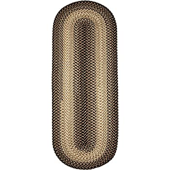 Super Area Rugs, Hartford Braided Indoor / Outdoor Rug Textured Durable Gray Sunroom/Porch Carpet, 2 X 6 Oval Runner