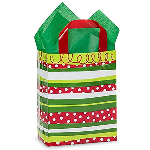 Christmas Stripes Plastic Shopping Bags -Cub Size - 8x4x10in. - 250 Pack by NW