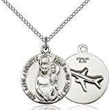 Sterling Silver Our Lady of Loretto Pendant 3/4 x 5/8 inches with Sterling Silver Lite Curb Chain