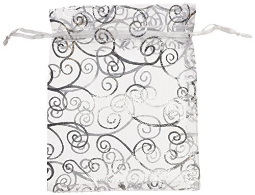 50 Organza Gift Bags (White with Silver Details, 4.5x6) by ximico