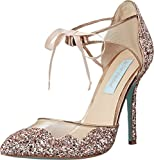 Blue by Betsey Johnson Women's Stela Dress Pump, Champagne Glitter, 8 M US