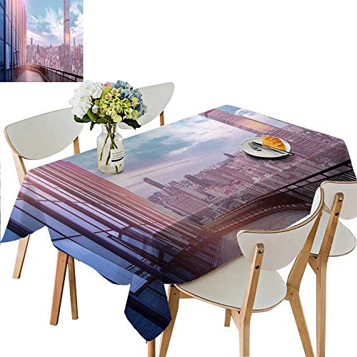 UHOO2018 Square/Rectangle Polyesters Tablecloth City Wedding Party,50 x 72inch ()