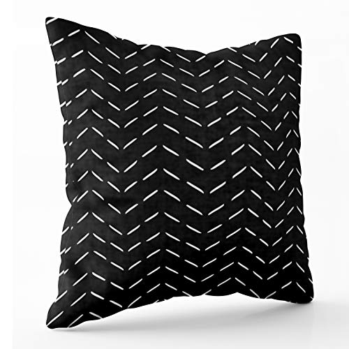 TOMKEY Hidden Zippered 20X20Inch Horizontal Dotted Zigzag Pattern Soft case, Decorative Throw Cotton Pillow Case Cushion Cover for Home Decor