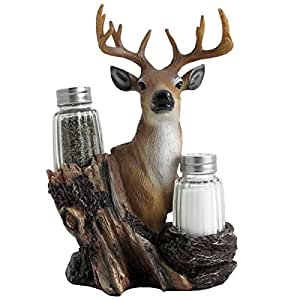 Animal, Bird, Western, Wild Life, Biker, Farm, Chef, Day of Dead Polyresin Salt and Pepper Shaker Set Home Kitchen Diniing Select Yours (Deer)