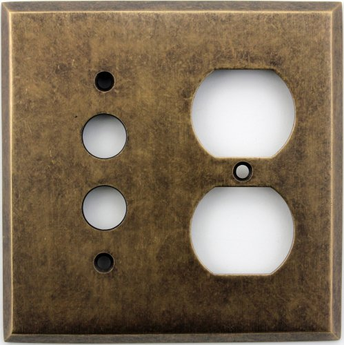 Classic Accents Aged Antique Brass Two Gang Wall Plate - One Push Button Light Switch Opening One Duplex Outlet Opening