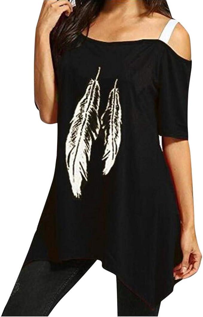 TOPKEAL Camiseta de Moda con Estampado de Plumas Blusa de Un ...