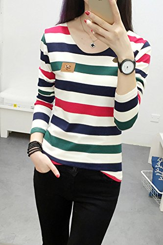 8e2db21d319 Amazon.com   Generic spring Korean students striped long- sleeved shirt  Women girl long- sleeved round neck Slim thin fashion cotton  T- shirt shirt    ...