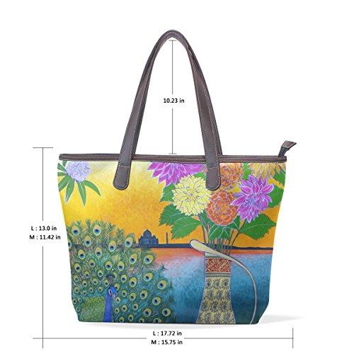 Coosun Womens Peacock und Blumen Malerei Pu Leder große Einkaufstasche Griff Umhängetasche