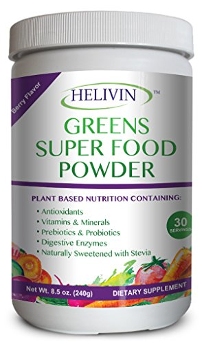Powder Alkalizing (Helivin Greens Super Food Powder - Natural Raw Plant Nutrition with Superfoods plus Digestive Enzymes - Alkalize, Energize, and Detoxify)