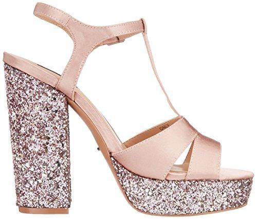 Femme Pink Ouvert Only rose Heeled Bout Satin Pink Rose Sandales Glitter Onlallie v6SAvq0