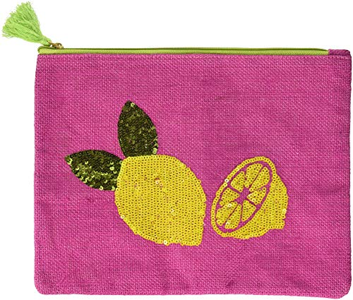 Mud Pie 8613346P Sequin Dazzle Carry All Cosmetic Bag Lemons