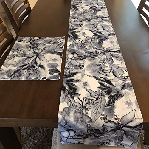 Elegant Table Runner with Placemats Set - 1 Runner 4 Placemats (5 Pieces) Black & White - Perfect for Dining Buffet Kitchen Table Dresser, Indoor-Outdoor, Farmhouse, Rustic, Fall Decor, Weddings