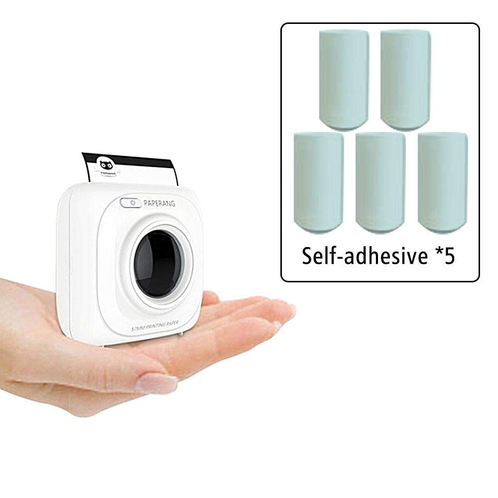 Glossy Printable Sticker Paper Roll Pack of 5 Pcs White Direct Thermal Paper Self-adhesive 57x30mm for PAPERANG and Mini Wireless Mobile Instant Printer