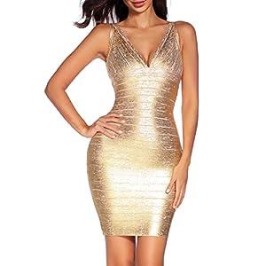 Madam Uniq Women's V Neck Bandage Dress Strap Foil Dresses Club