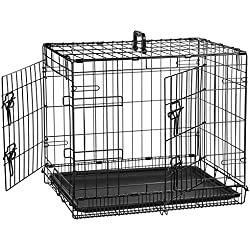AmazonBasics Double-Door Folding Metal Dog Crate - 24 Inches