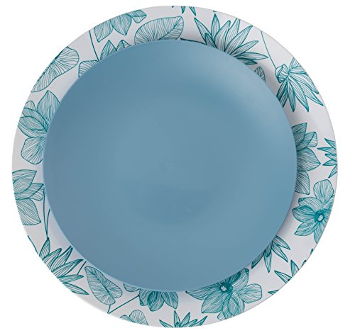 Buffet Dinner Plate - Trendables™ 40 - Pack Combo Premium Disposable Plastic Plates, Food Grade Elegant Hard Plastic Dinner Plates - Bella Design Includes: 20 x 10.25