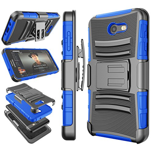 Tekcoo for Galaxy J7 Sky Pro/J7 Prime Case, for Galaxy Halo/J7 Perx/J7 V Holster Clip, [Hoplite] Shock Absorbing [Blue] Locking Belt Heavy Full Body Kickstand Carrying Cover for Samsung J7 2017