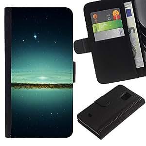 Espacio Galaxy - la tarjeta de Crédito Slots PU Funda de cuero Monedero caso cubierta de piel Para Samsung Galaxy S5 Mini (Not S5), SM-G800