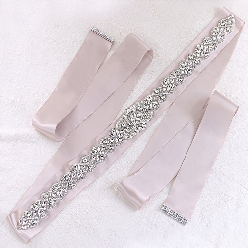 Champagne Ribbon Rhinestone Dress Belt Bling Crystal Bridal Sash for Wedding Gown Party Prom with Pearls Beaded Decoration (Beaded Silk Belt)