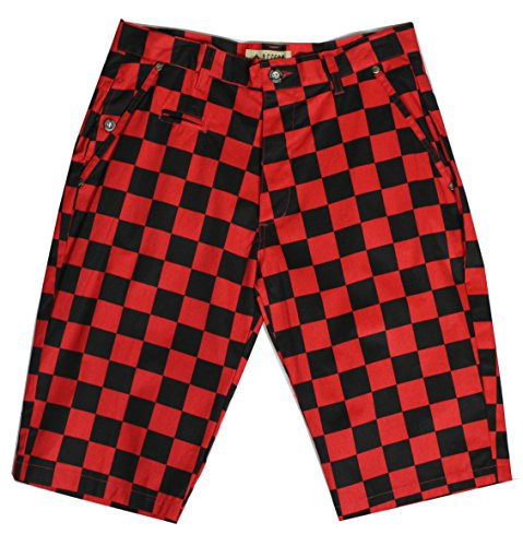 Access Checkerboard Print Chino Shorts 38 Red/Black (Red Checker)