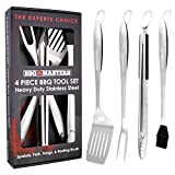 BBQ Masters Heavy Duty 4 Piece BBQ Grilling Tools Set - Extra Thick Stainless Steel Barbecue Grill Accessories - 18'' Spatula, Tongs, Fork and Basting Brush Utensils